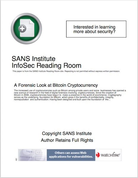 SANS - A Forensic Look at Bitcoin Cryptocurrency