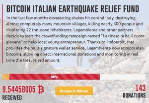 Helperbit aiuta Legambiente a ricevere donazioni in bitcoin per i terremotati