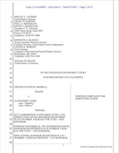 Forfeiture Complaint di Alexandre Cazes per indagine Alphabay